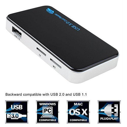Techno Buzz Deal USB 3.0 SuperSpeed All-in-1 Multi Memory Card Reader for Compact Flash/Micro SD/SD/CF/XD/M2/MS Cards with USB 3.0 Cable Black/Silver