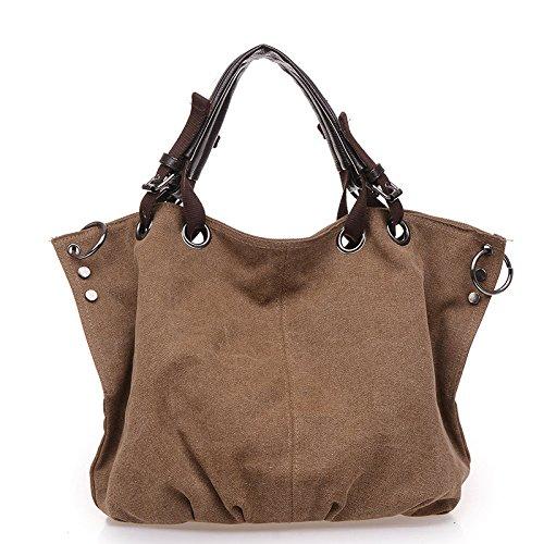 Mefly Europäische und amerikanische Fashion Handtasche Canvas Tasche große Handtasche Coffee
