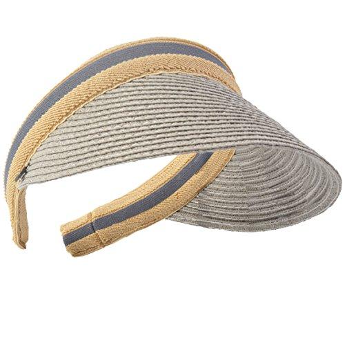 Damen Golf Visier Strand Stroh Sonnenhut Visoren Hüte (Grau) (Stroh-sonnenhut Frauen)