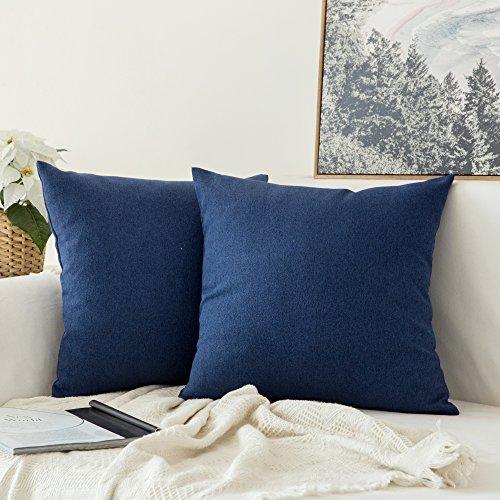 MIULEE 2er Pack Weiche Kissenbezug Kopfkissenbezug Leinen Kiessehülle für Sofa Schlafzimmer Auto mit Reißverschlüsse 40x40 cm Kissenbezüge Navy Blau -