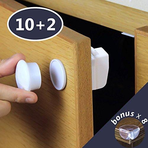 INNOCHEER kindersicherung schrank - 10 Magnet Schlösser + 2 Schlüssel + 8 Bonus kantenschutz - Leichte Montage ohne Werkzeug - kindersicherung mit Klebeband für Schränke, Schubladen