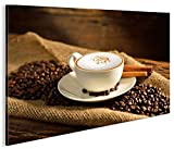 islandburner Bild Bilder auf Leinwand Cappuccino Kaffee Kaffebohnen Gemütlich 1K XXL Poster Leinwandbild Wandbild Dekoartikel Wohnzimmer Marke