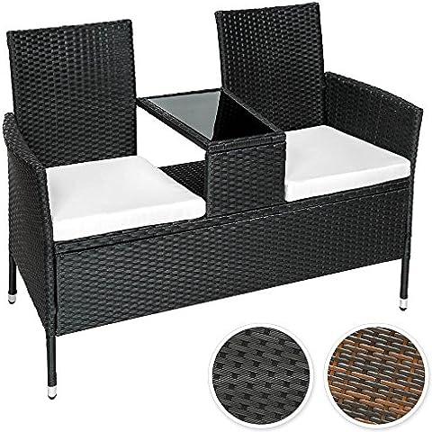 TecTake Sofá 2 asientos + mesa media de poliratán incl. cojines - disponible en diferentes colores - (Negro | No. 401547)