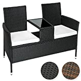 TecTake Sitzbank mit Tisch Poly Rattan Gartenbank Gartensofa schwarz inkl. Sitzkissen