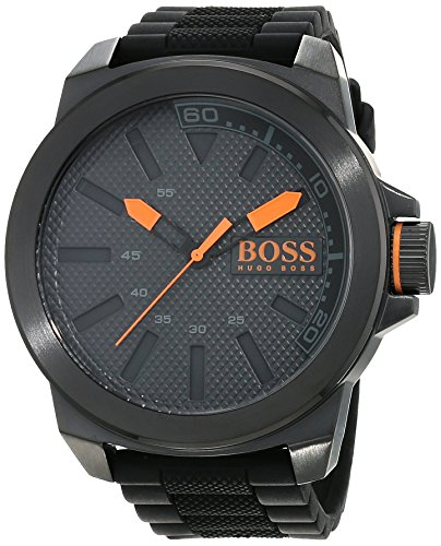 Hugo Boss Orange New York Men's Quartz Analogue Classic Black Silicone Strap 1513004