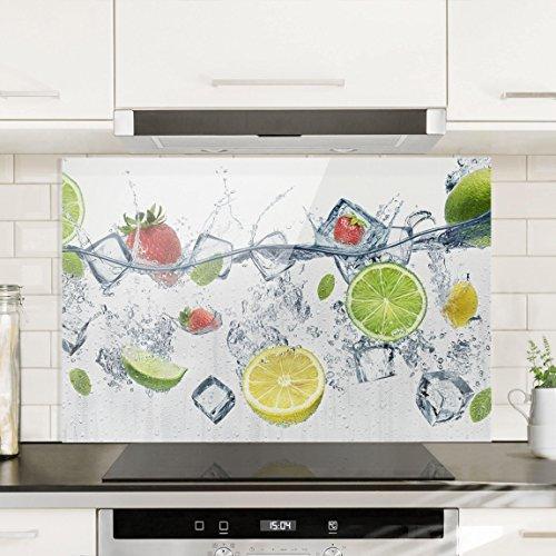 Bilderwelten Spritzschutz Glas - Frucht Cocktail - Quer 2:3, Wandbild Küchenrückwand Küchenspiegel Küchenspritzschutz Glasrückwand Küche Spritzschutz Herd, Größe HxB: 40cm x 60cm (Drei Cocktail-gläser)