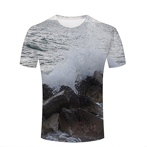 Mens crewneck 3d t-shirt splashing waves on stone creative graphic tees tops XXL (Tee Muscle Graphic)