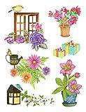 dpr. Fensterbild Set 6-tlg. - Blumen Gerbera Rose Korb Vögel - Fenstersticker Fensterdeko