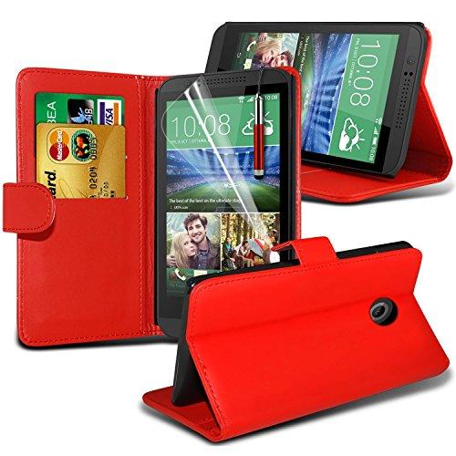 (Rot) HTC Desire 320 hülle Elegante Schutzhülle Clasic Kunstleder Buchart-Seiten-Schlag-Art-Mappen-Haut Fall Deckung mit Einbauschlitzen + Displayschutzfolie Mit i-Tronixs (Htc-telefon-kasten Lederne)