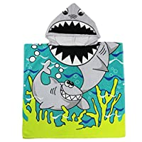 Gogokids Beach Towel Swimming Bath Towels Hooded Poncho for Kids Boys Girls 1-6 Year