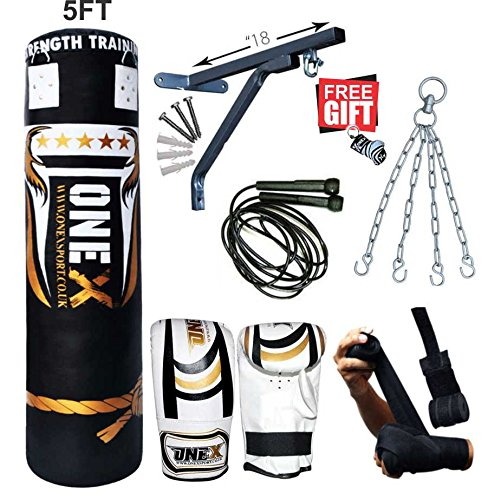 Heavy-Filled-11-Piece-5ft-Boxing-Punch-Bag-Set-Gloves-Bracket-Chains-MMA-Pad