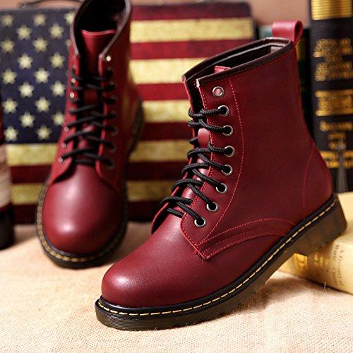 &zhou Base di spessore pelle calda MS autunno/inverno stivali stivali Martin marea stivale moda wine red velvet