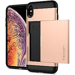 """Spigen Coque iPhone XS Max, Etui iPhone X Plus, [Slim Armor CS] Slim Fit Protection Double Couche [Gold] Fente pour Carte/Coque Etui Housse pour iPhone XS Max [6.5"""" / 6.5 Pouces] - (065CS25355)"""