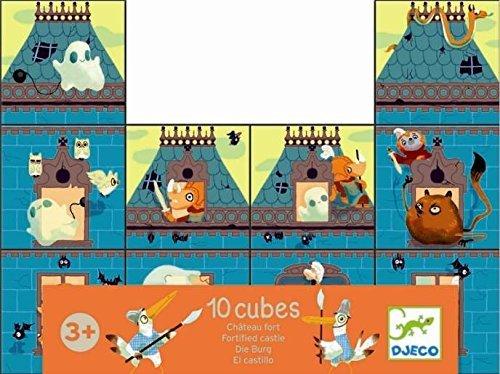 Djeco - Puzzle cubes château fort (10 cubes) - Vert, bleu, orange et beige