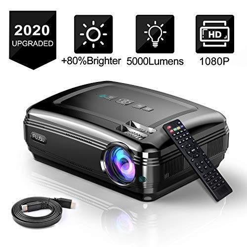 Beamer 1080P Full HD 5000 Lumen 200 Zoll LCD Video Projektor unterstützt HDMI USB VGA SD Card AV für Heimkino Office Powerpoint Präsentationen Geschenk Laser Pointer