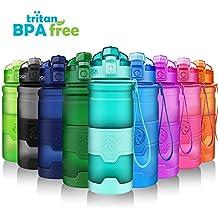 ZORRI Botella de Agua Deportiva a Prueba de Fugas| Sin BPA-Tritan Reutilizable Plástico