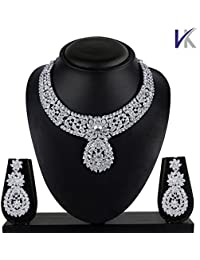 Vk Jewels Wedding Collection Silver Brass Alloy Necklace Set For Women Vknkz1024S