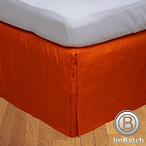 300TC 100% cotone egiziano, finitura elegante scatola salva Bedskirt, pieghettato, a forma di goccia, lunghezza: 55,88 (22) cm), Cotone, Navy Blue Solid, Matrimoniale uk super king Orange Solid