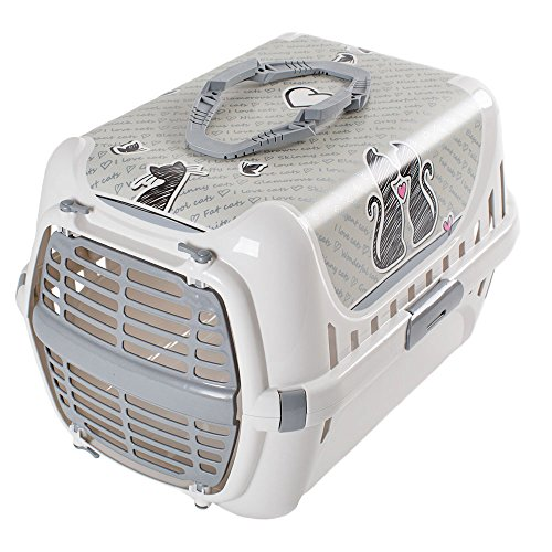 RinderOhr Transportbox Trendy grau cats in Love