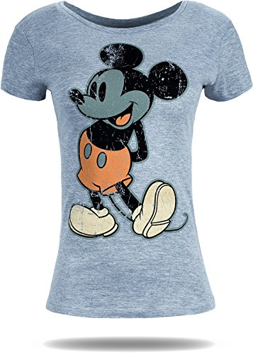 Rock Angel Damen T-Shirt Mickey Mouse Freizeit Kurzarm Top Disney Grau
