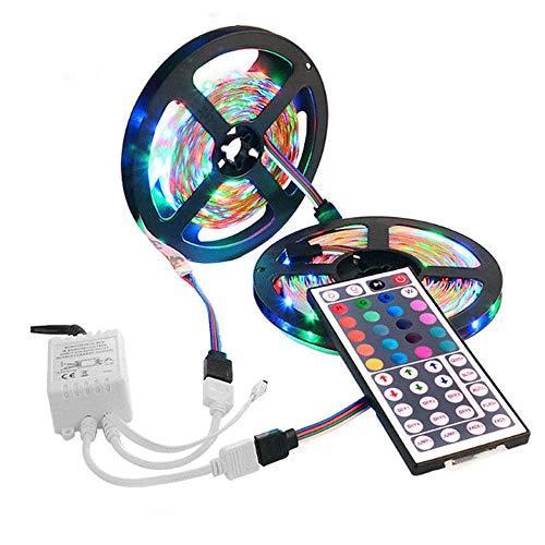 MiMiey 10M 3528 SMD RGB 600 LED Streifenlichterkettenband + 44 Schlüssel-IR-Fernbedienung, Außen Eisregen Lichterkette Warmweiß Lichtervorhang Valentinsgruß Karneval Deko Beleuchtung (Mehrfarbig) (1)