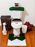 Tfxwerws 3pz Set regalo divertente pupazzo di Babbo Natale bagno copriwater copertura tappetino decorazione