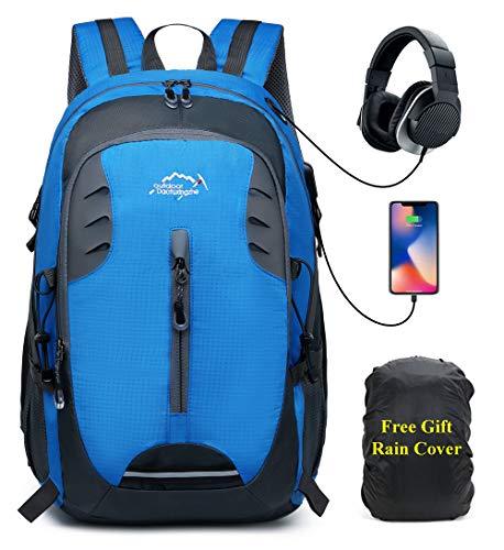 30L Zaino Trekking Uomo e Donna Hiking Backpack Montagna Viaggio Leggero Zaino per Campeggio Viaggi Alpinismo,Impermeabile Parapioggia Zaini con Porta USB,Blu