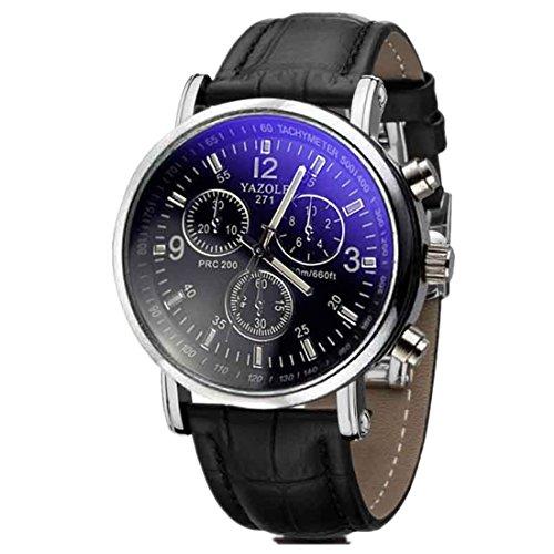 Ouneed® Uhren, Herren Luxusmode Kunstleder Mens Blue Ray Glas Quartz Analog Uhren (D)