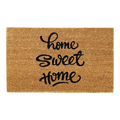 Onlymat Natural Coir Home Sweet Home Door Mat 75 cm x 45 cm x 1.5 cm for Main Door, Bathroom, Bedroom, Entrance, Kitchen, Home, Main Door, Office, Outdoor, Garden, Outside, Bed room, Floor with Hard, Eco-friendly, Thick Material & PVC for Welcome and Big/Large/Long Size Floor Door Mat Room Decor, Essentials Great Deals on Items Matt, Anti-Skid, Anti-Slip, Low Price/Lowest Price Chatai/Household and Commercial Entrances Foot mat/Doormat, Rectangular Shape (Beige)  available at amazon for Rs.544