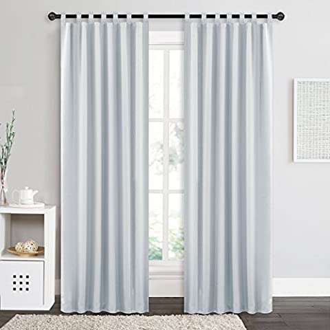 Blackout White Curtains Window Treatment - PONY DANCE Super Soft Solid Energy Saving Thermal Insulated Blackout Tab Top Window Curtains Drapery for Bedroom, Set of 2, Width 55