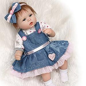 ZIYIUI 17inch 42cm Reborn baby doll Newborn baby doll Lifelike Soft silicone vinyl Wearing a denim skirt doll