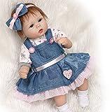 ZIYIUI 17 Pulgadas 42 cm Reborn Baby Doll Bebé recién Nacido Realista Vinilo de Silicona Suave con una muñeca de la Falda del Dril de algodón