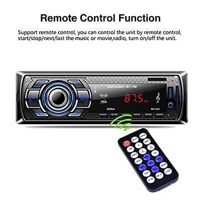 Aigoss Autoradio Bluetooth, 4 x 60W Voiture Stéréo FM Radio, Lecteur MP3 Poste Radio Voiture, Universelle Récepteur Conversation Mains Libres AUX/Carte SD/USB/Smartphone de Aigoss