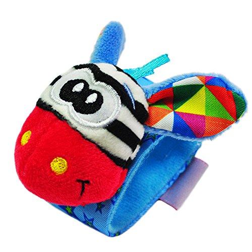 Newin Star - Juegos Infantiles,Pulsera Sonajero Animales,Juguete Suave Educativo con Linda muñeca para bebé (Jirafa roja)