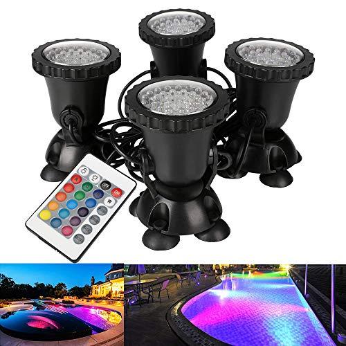 GreenSun Aquarium Spotlicht Unterwasserleuchte RGB LED Aquarien Licht Lampe für Fisch Tank innen Pool innen Brunnen 4 Stücke Aquarien Beleuchtung in 1 Set Deko Mit 24 Tasten Fernbedienung