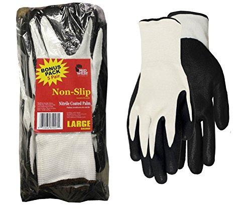 Midwest Handschuhe 61p05pp-ea-az-1Herren Nitro greifen Handschuh der (5Paar), groß, weiß/schwarz -