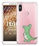 Sunrive Für Xiaomi Redmi S2 Hülle Silikon, Transparent Handyhülle Luftkissen Schutzhülle Etui Case für Xiaomi Redmi S2(TPU Dinosaurier)+Gratis Universal Eingabestift