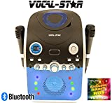 Vocal-Star PartyBox CDG CD Bluetooth Karaoke Machine With Led Light Effect 2 Microphones