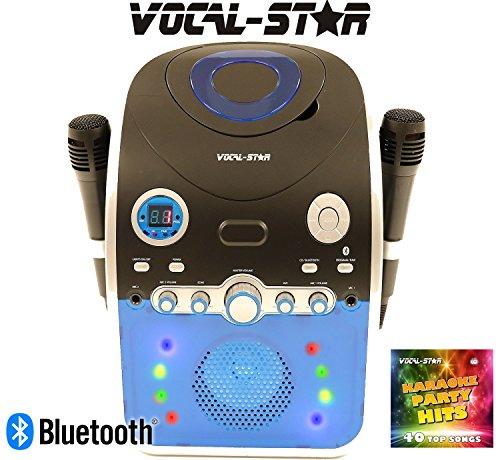 Vocal-Star PartyBox CDG CD Bluetooth Karaoke-Maschine mit LED Lichteffekt 2 Mikrofone & 40 Lieder