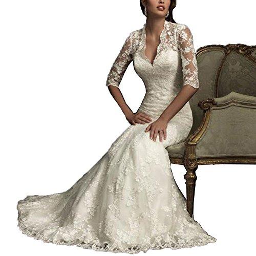 NUOJIA V-Ausschnitt Spitze Brautkleider Meerjungfrau Hochzeitskleider mit Hälfte Ärmel Elfenbein...