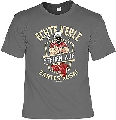Geile-Fun-T-Shirts Grill T-Shirt für Männer - Echte Kerle Stehen auf zartes Rosa - Herren Shirts Grau Lustiges Geschenk-Set Bedruckt mit Grillmeister-Urkunde