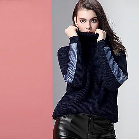 WZH manica aderente ispessimento Dolcevita da donna maglione Undershirt . navy blue . s