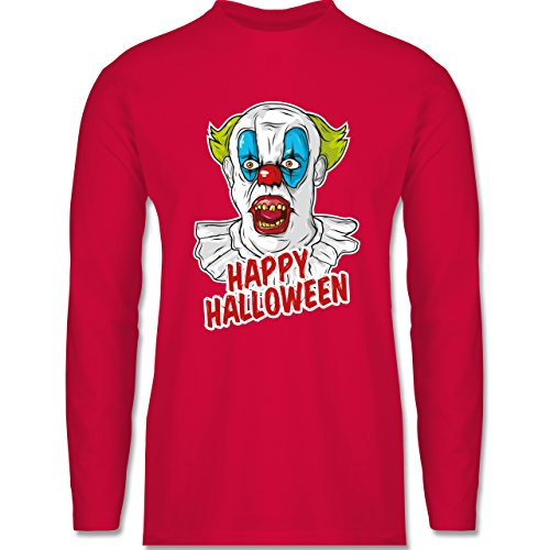 Shirtracer Halloween - Happy Halloween - Clown - Herren Langarmshirt Rot