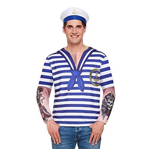 Henbrandt Herren Matrosen Kostüm (Blau/Weiß) (Männer Matrose Kostüm)