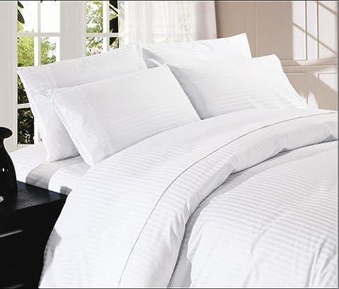 Dreamz Betten House Sieben (7) Stück Set, weiß gestreift/Leinen, Einzelbett Großbritannien Größe, 4Bed Sheet Set & 3-teilige Bettwäschegarnitur, Fadenzahl 1000Ultra Weich einlagigen, 100% ägyptische Baumwolle Set Blatt und Bettdecke Set beinhaltet zwei (2) kissenrollen und zwei (2) Kissen Fällen