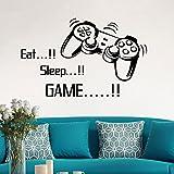 Eat Sleep Game, 53cmx86cm----HUI.HUI 3D DIY Autocollants DéCoration Murale Amovible RéUtilisable Pour Chambre Salon Moderne éLéGant Fashion Art Amovible (Noir)