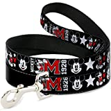 Buckle Down dl-6ft-wdy159-n Pet Leash-Classic Mickey Mouse 1928Collage schwarz/weiß/rot, 6'L/5,1cm W