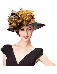 Homart Sombrero Floral de Kentucky Derby de Organdi de ala ancho del Sol de casquillo de Boda en la Playa de las Mujeres.
