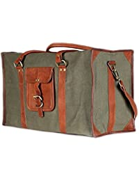 7d953fd575045e Dedicate 100% Genuine Leather And Dark Grey Canvas Duffel Bag Travel  Luggage Bag