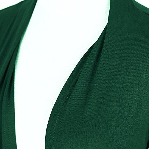 Urban GoCo Donna Cardigan Drappeggiato a Cascata Lavorato a Maglia Elasticizzato Aperto Davanti Giacca Tops Verde scuro